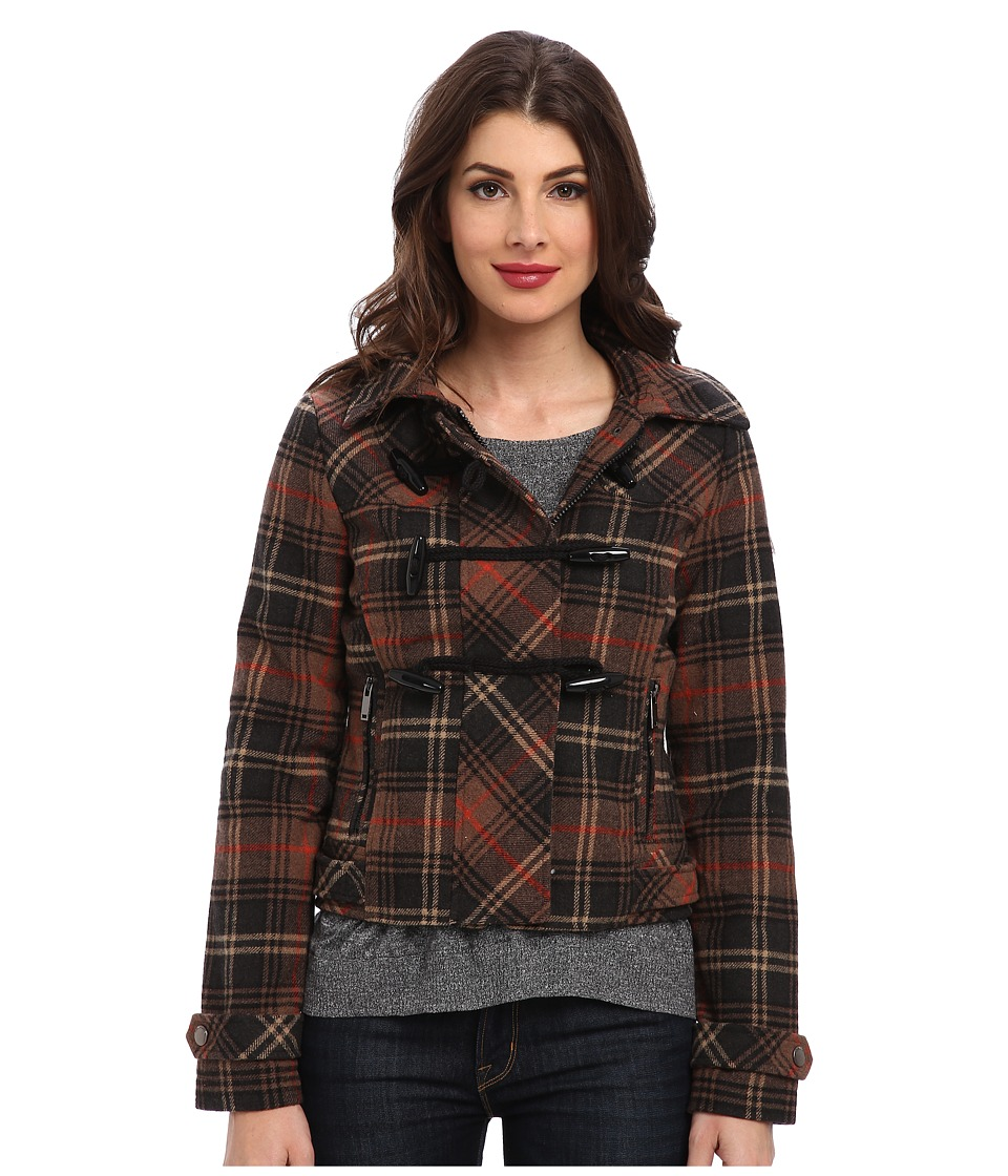 dollhouse - Hooded Zip-Front Bomber w\/ Toggle Closings (Avril Plaid) Women's Coat