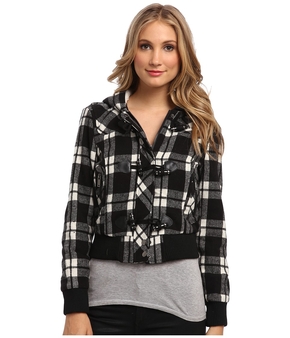 dollhouse - Knit Trim Bomber w/ Pile-Lined Hood Toggle Closings (Halle Plaid) Women's Coat