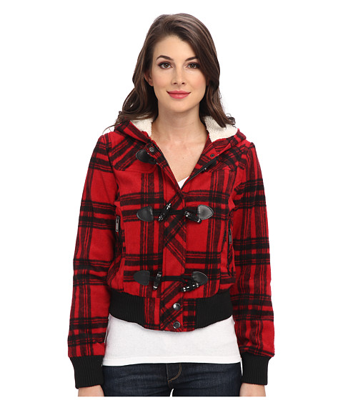 dollhouse - Knit Trim Bomber w/ Pile-Lined Hood Toggle Closings (Katy Plaid Red) Women
