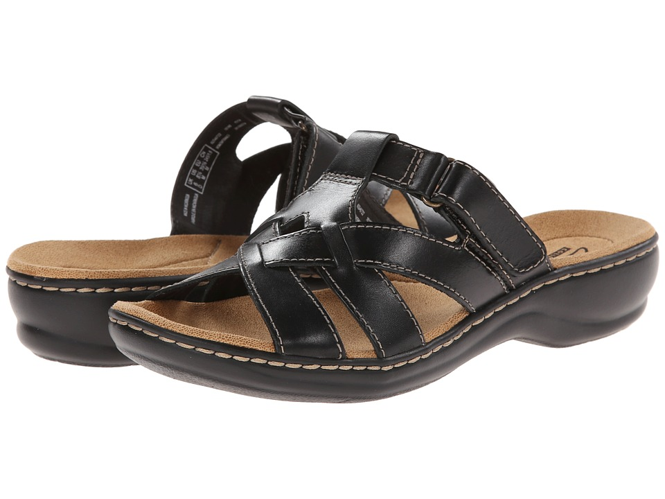 Clarks - Leisa Bloom (Black Leather) Women's Sandals