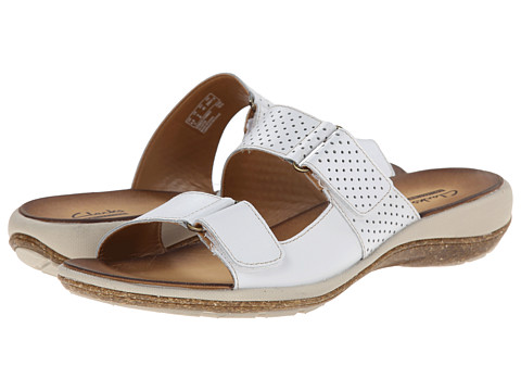 Clarks - Taline Trim (White Leather) Women's Sandals