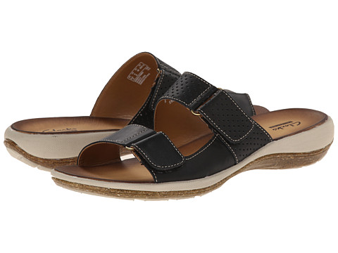 Clarks - Taline Trim (Black Leather) Women's Sandals