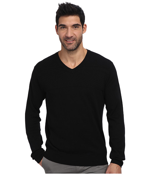 Perry Ellis - Solid Textured V-Neck Sweater (Black) Men