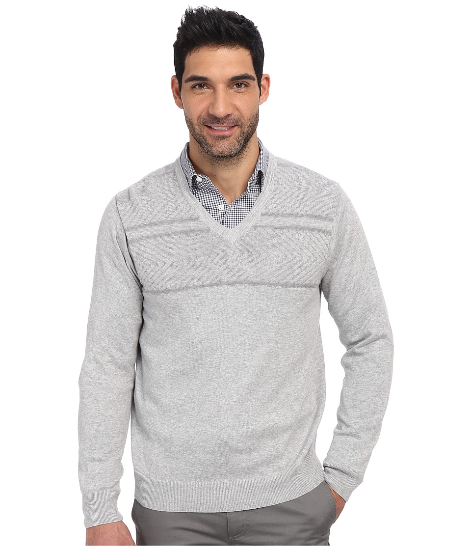 Perry Ellis - Solid Textured V-Neck Sweater (Alloy Heather) Men