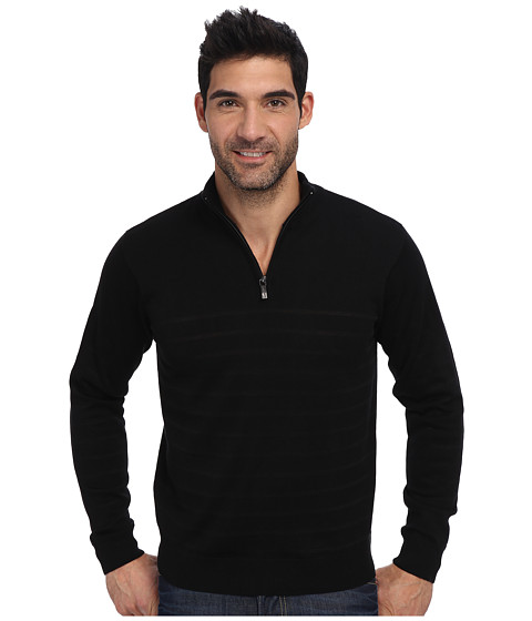 Perry Ellis - Solid Stripe Quarter Zip Sweater (Black) Men's Sweater