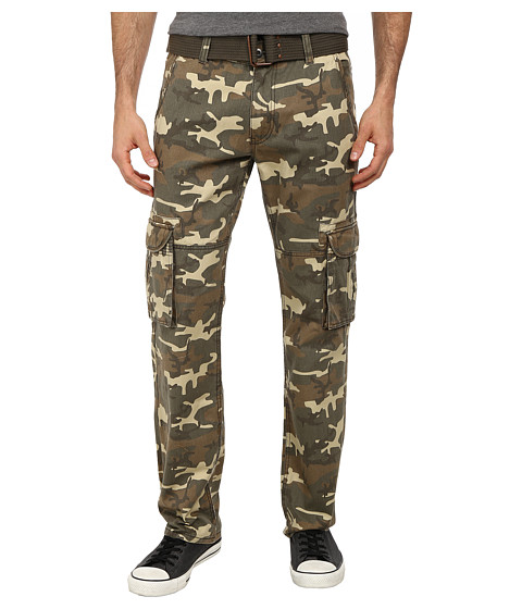 Request - Camo Cargo Belted Pants (Wood Camo) Men's Casual Pants