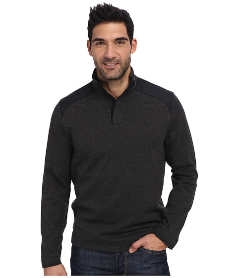 Perry Ellis - Long Sleeve Ponte Mock Collar Shirt (Charcoal Heather) Men