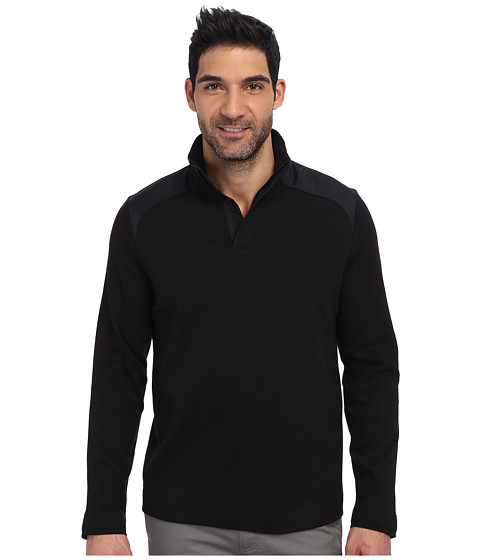 Perry Ellis - Long Sleeve Ponte Mock Collar Shirt (Black) Men