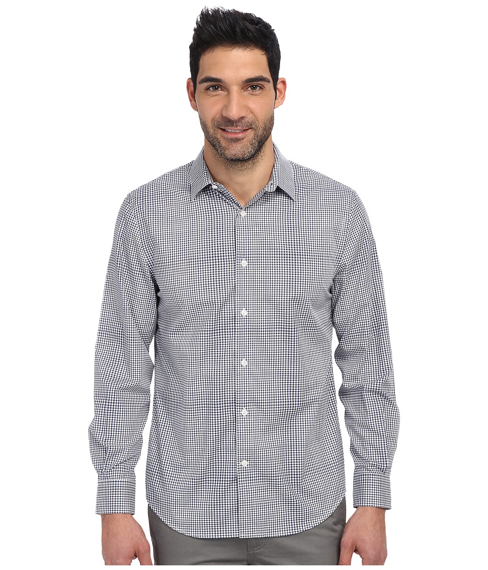 Perry Ellis - Long Sleeve Check Ombre Non Iron Shirt (Blue Depths) Men's Long Sleeve Button Up