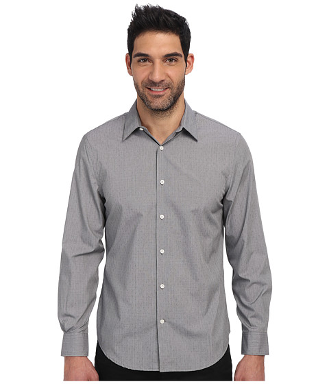 Perry Ellis - Long Sleeve Printed Dobby Non Iron Shirt (Alloy) Men's Clothing