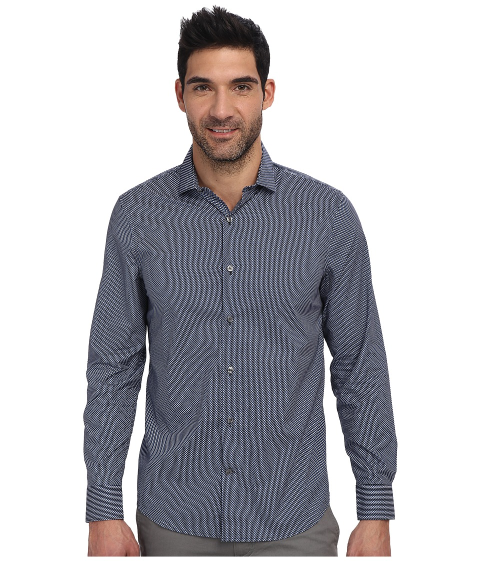 Perry Ellis - Slim Fit Mini Geometirc Print Shirt (Blue Depths) Men's Long Sleeve Button Up