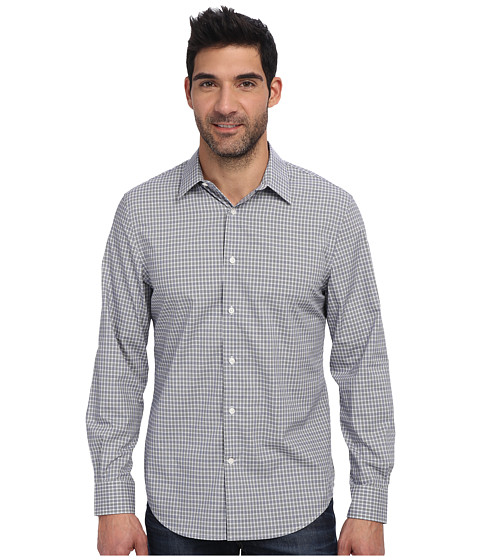Perry Ellis - Long Sleeve Plaid Pattern Shirt (Blue Depths) Men