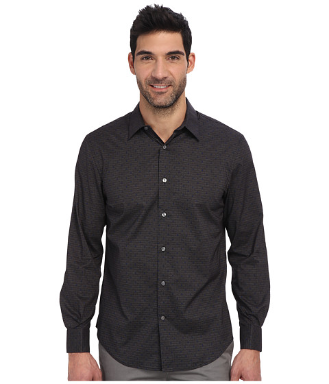 Perry Ellis - Long Sleeve Printed Dot Shirt (Slate) Men's Clothing