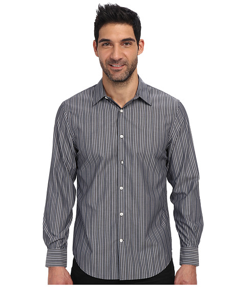 Perry Ellis - Long Sleeve Stripe Pattern Non Iron Shirt (Slate) Men's Clothing