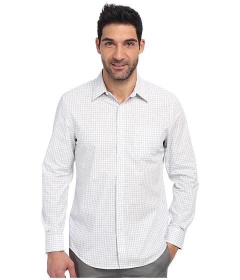 Perry Ellis - Long Sleeve Heatherd Pattern Shirt (Bright White) Men's Short Sleeve Button Up