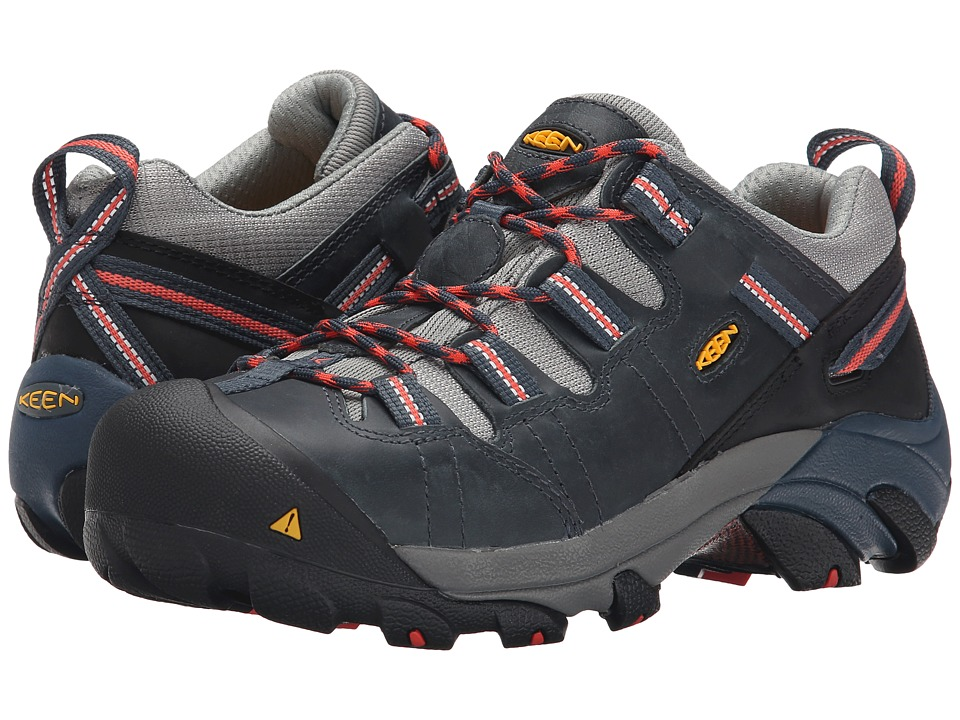 Keen Utility - Detroit Low (Midnight Navy/Hot Coral) Women's Work Boots