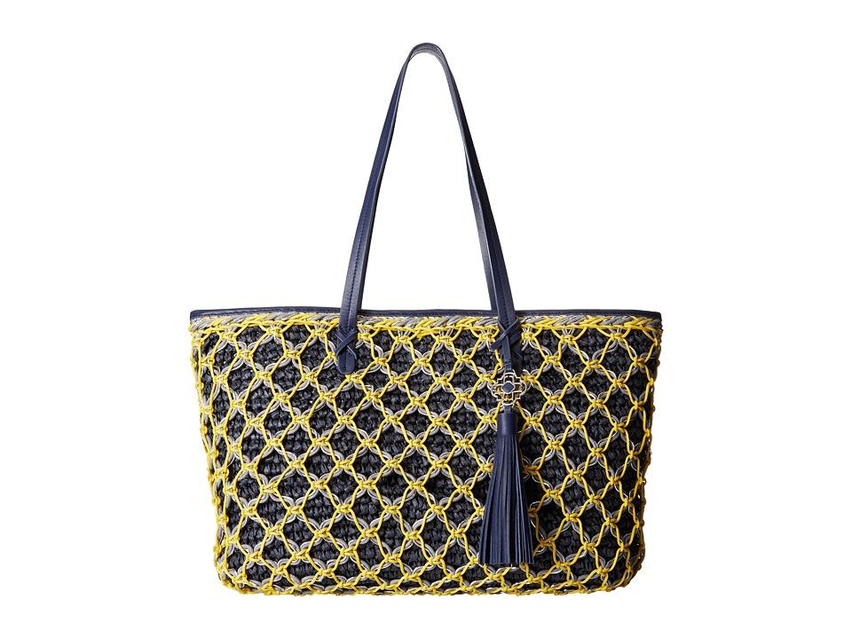 Rafe New York - Sam Straw Tote (Navy/Yellow) Tote Handbags