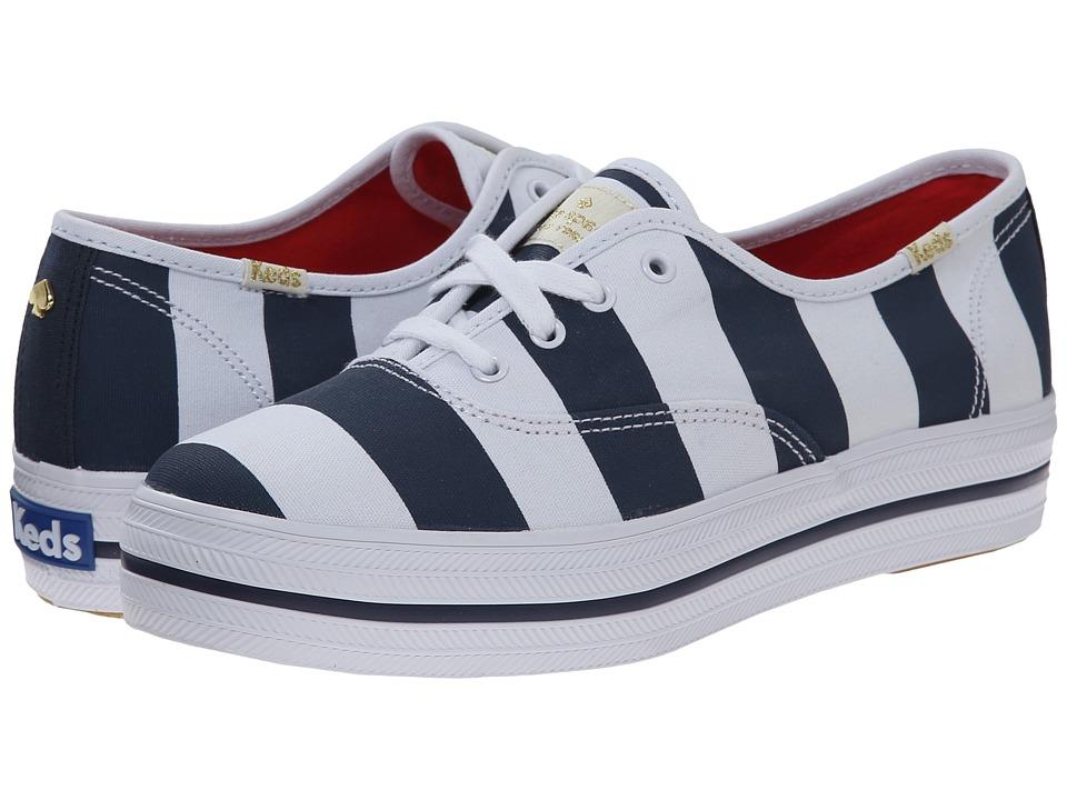 Kate Spade New York - Triple Kick (Black Iris/White Stripe Canvas) Women's Lace up casual Shoes