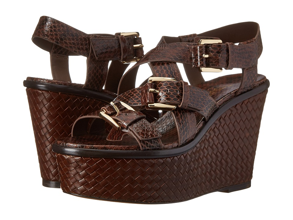 Michael Kors - Varick (Nutmeg Genuine Snake/Vachetta) Women's Wedge Shoes