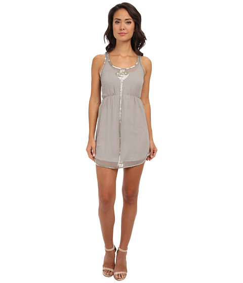 Aryn K - Beaded Mini Dress (Gray Silver) Women's Dress