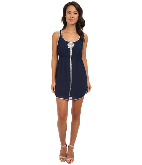 Aryn K - Beaded Mini Dress (Navy Silver) Women's Dress