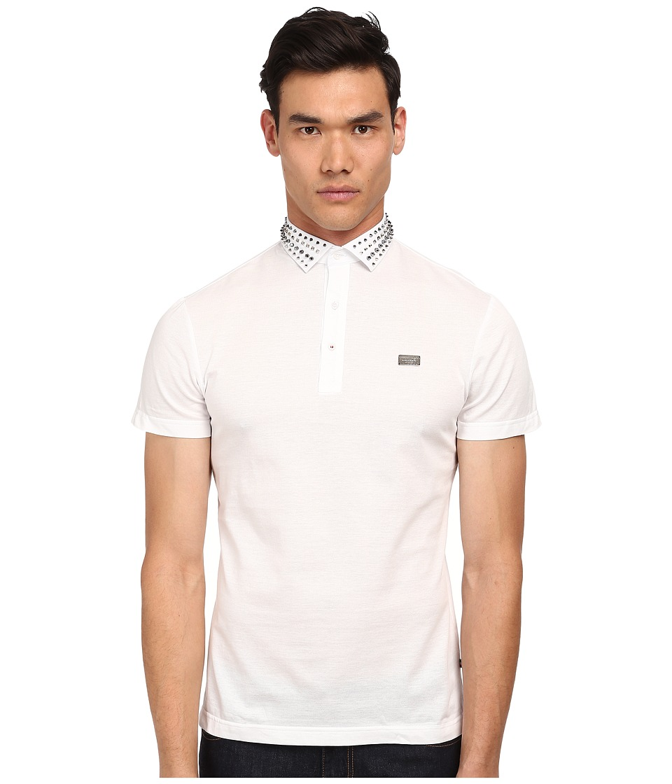 Philipp Plein - Rude Polo (White) Men's Short Sleeve Pullover