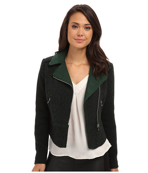 French Connection - Tweed Moto Jacket (Green) Women's Coat