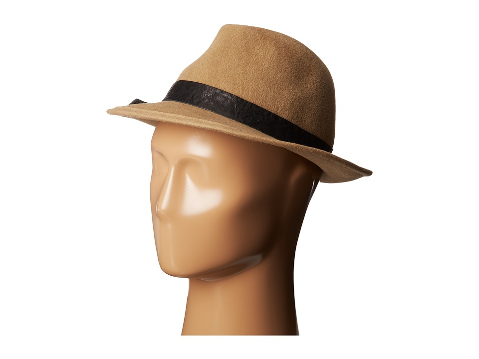 Hat Attack - Velour Classic Fedora w/ Leather/Stone Trim (Camel) Fedora Hats