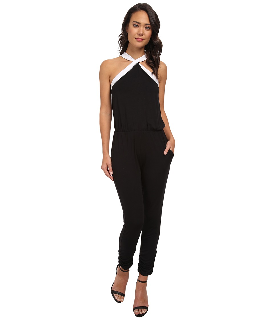 Michael Stars - Halter Jumpsuit (Black/White) Women's Jumpsuit & Rompers One Piece
