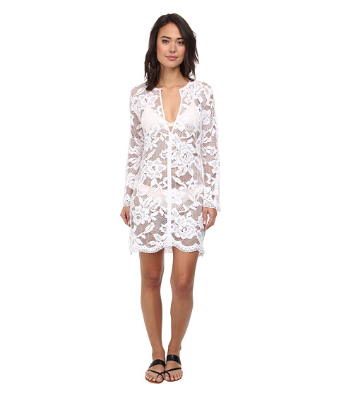 Shoshanna - Lace Keyhole Tunic (White) Women's Swimwear