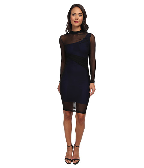French Connection - Fast Mia Mix Dress 71CYI (Black/Monarch Blue Lining) Women