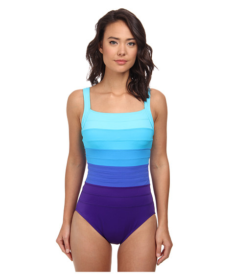 Miraclesuit - Spectra Band-it Square Neck Swimsuit (Ultra Violet/Multi) Women
