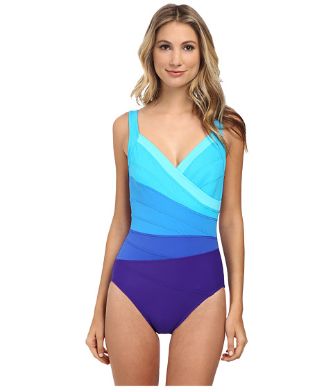 Miraclesuit - Spectra Band-it Surplice Swimsuit (Ultra Violet/Multi) Women's Swimsuits One Piece