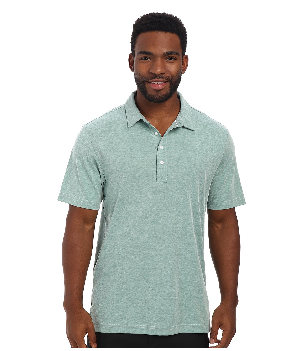 TravisMathew - Crenshaw S/S Polo (Heather Bosphorous Green) Men's Short Sleeve Knit
