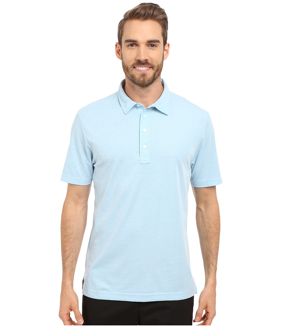 TravisMathew - Crenshaw S/S Polo (Heather Sky Blue) Men's Short Sleeve Knit