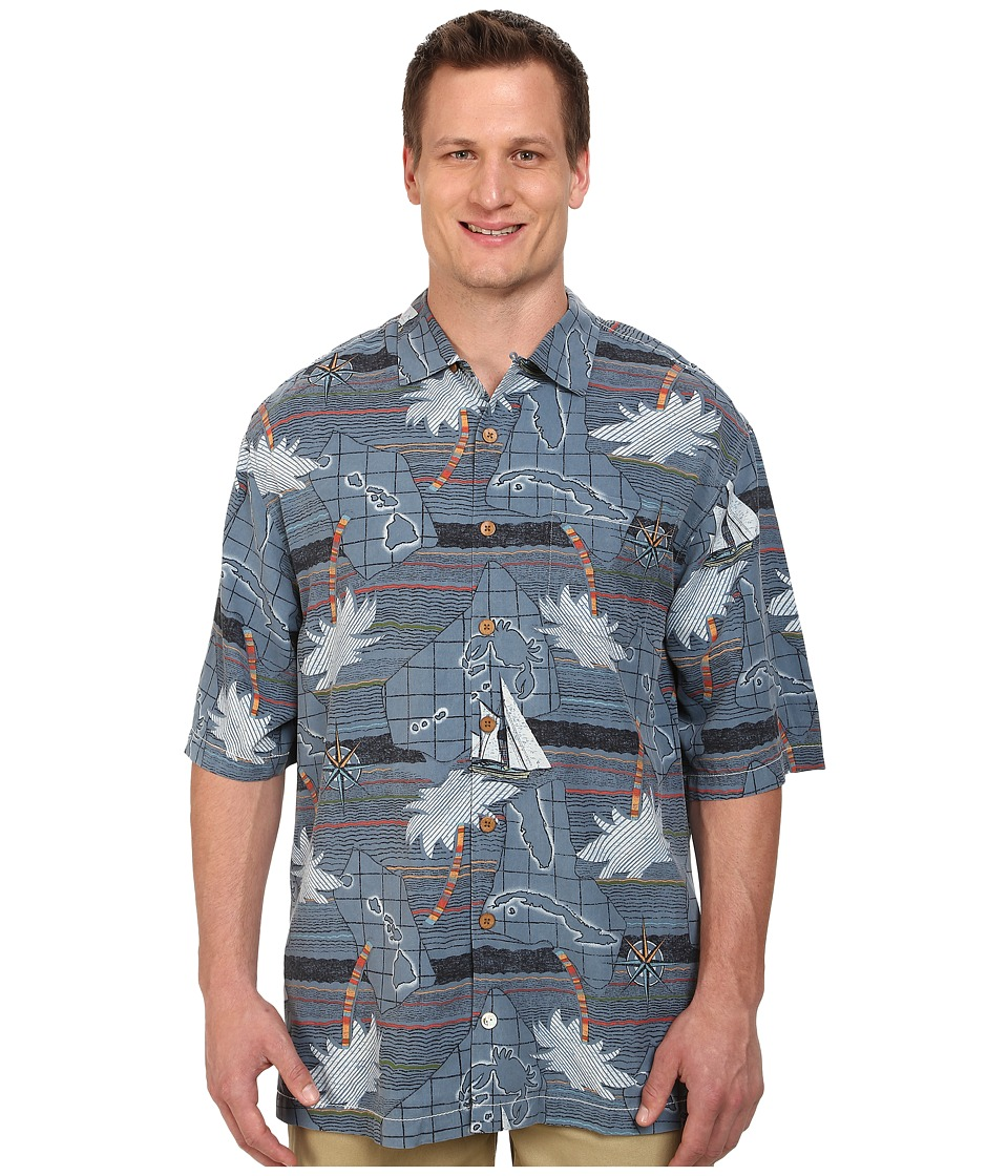 Tommy Bahama Big & Tall - Big Tall Vintage Voyage (Dark Sea) Men's Short Sleeve Button Up