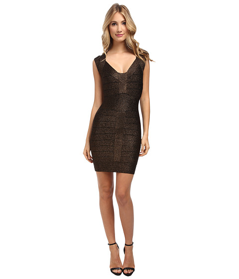 French Connection - Dani Crepe Dress 71CSV (Black/Bronze) Women
