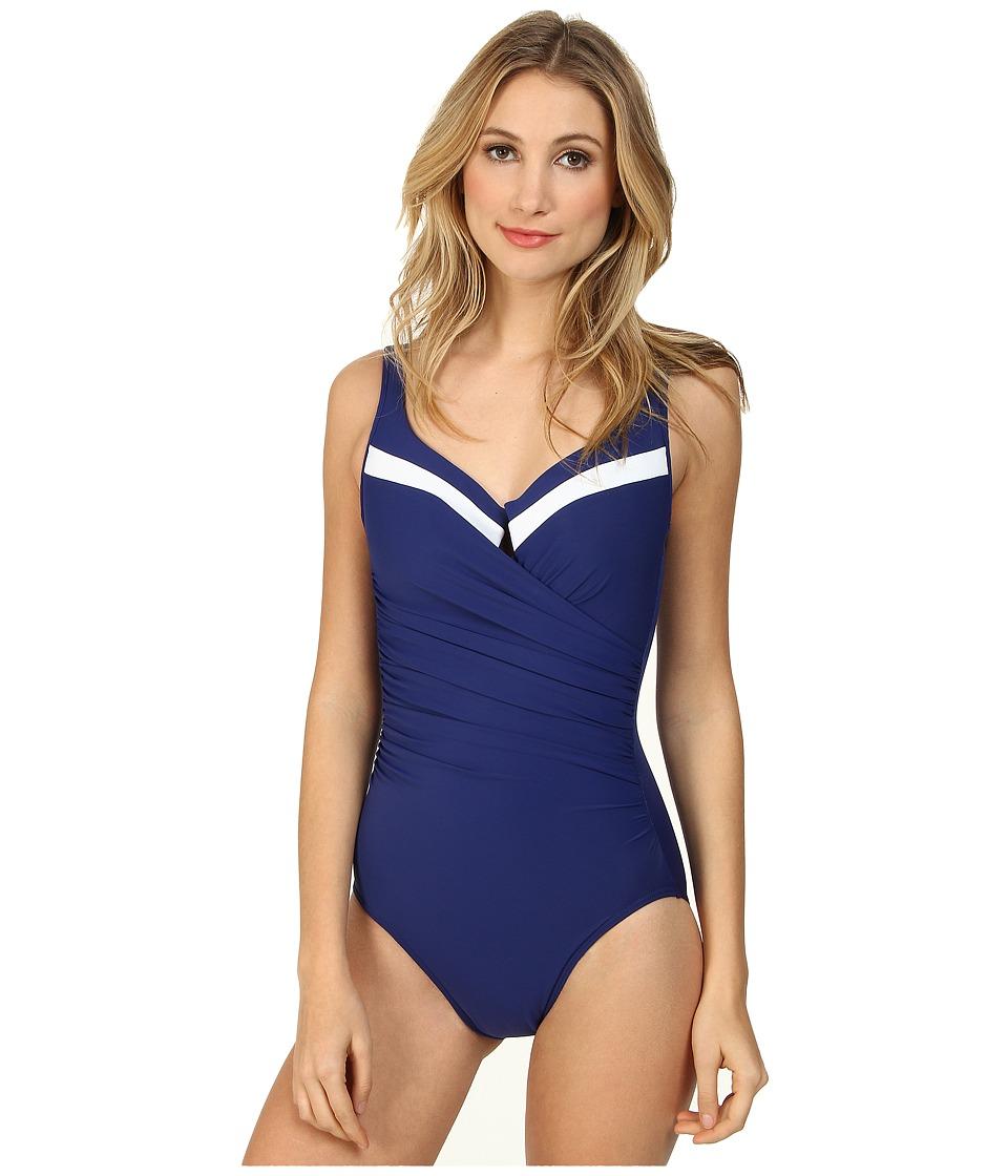 Miraclesuit - New Sensations Color Block Escape Swimsuit (Marine Blue/White) Women's Swimsuits One Piece