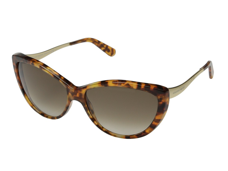 Alexander McQueen - AMQ 4147/N/S (Havana Gold/Brown Gradient) Fashion Sunglasses