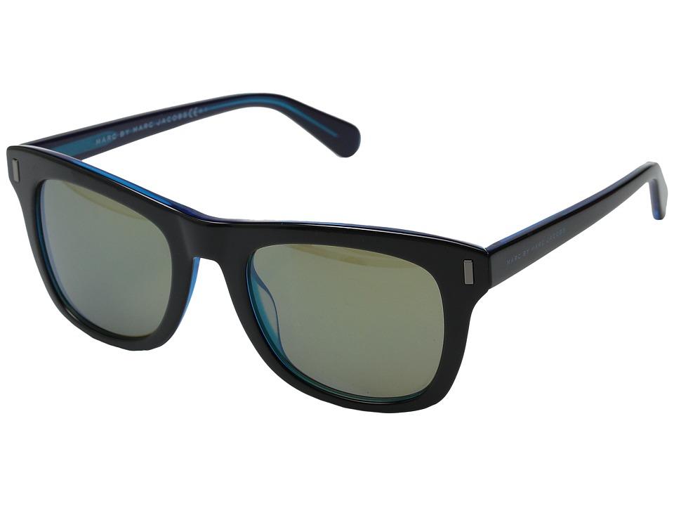 Marc by Marc Jacobs - MMJ 432/S (Black Blue/Khaki Mirror Blue) Fashion Sunglasses