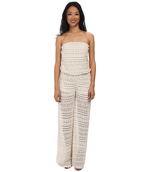 Christin Michaels - Lace Strapless Jumper (Oatmeal) Women's Jumpsuit & Rompers One Piece