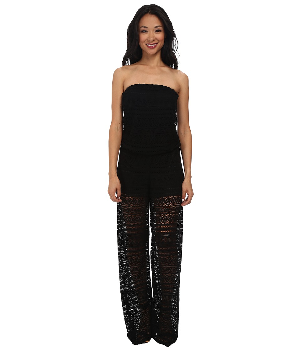 Christin Michaels - Lace Strapless Jumper (Black) Women's Jumpsuit & Rompers One Piece
