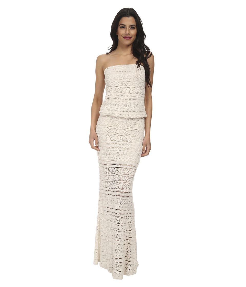 Christin Michaels - Leah Lace Strapless Maxi Dress (Oatmeal) Women's Dress