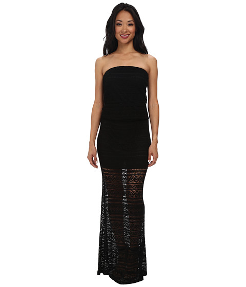 Christin Michaels - Leah Lace Strapless Maxi Dress (Black) Women's Dress