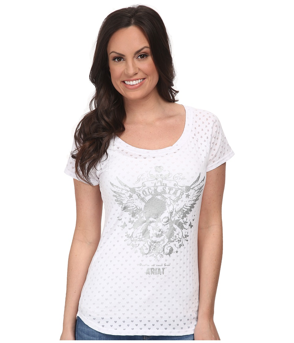 Ariat - Rockstar Tee (White) Women's T Shirt