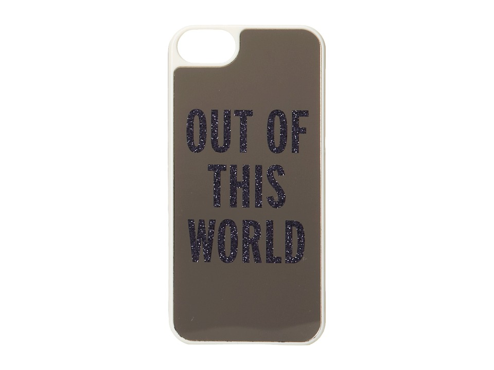 Kate Spade New York - Out Of This World Resin Phone Case for iPhone 5 and 5s (Silver Mirror/French Navy Glitter) Cell Phone Case