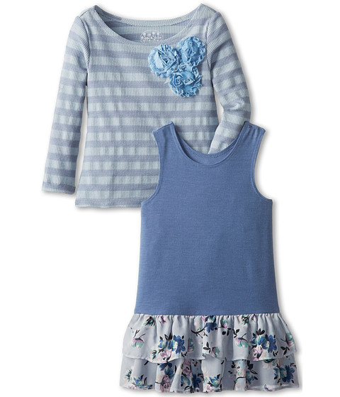 Pippa & Julie - Waffle Knit Top and Jersey Dress (Toddler) (Blue) Girl