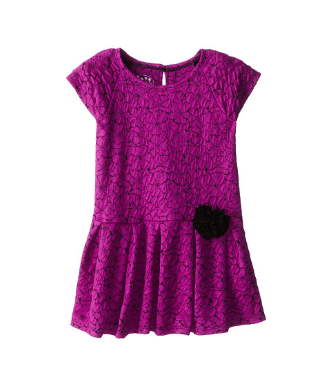 Pippa & Julie - Fuchsia Knit Floral Dress (Little Kids) (Fuchsia/Black) Girl's Dress