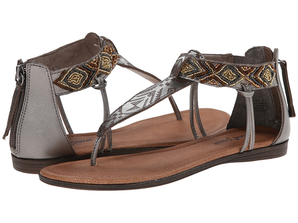 Minnetonka - Antigua (Pewter Leather/Neutral Metallic Beads) Women's Sandals