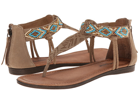 Minnetonka - Antigua (Taupe Suede/Turquoise Metallic Beads) Women